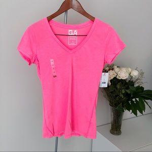 NWT Garage Electro Pink Basic V Neck Tee T-Shirt